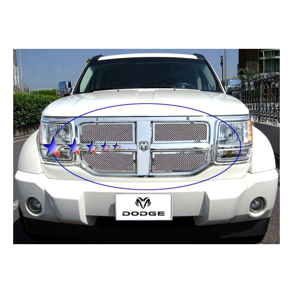aps dodge nitro 2007 2011 upper chrome mesh grille. Black Bedroom Furniture Sets. Home Design Ideas